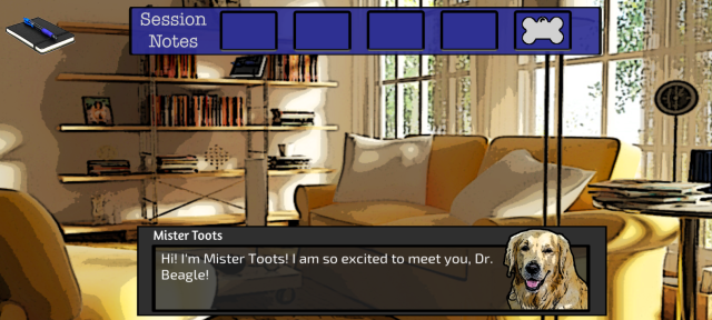 Screen capture Dr. Beagle's office and first patient, Mister Toots.